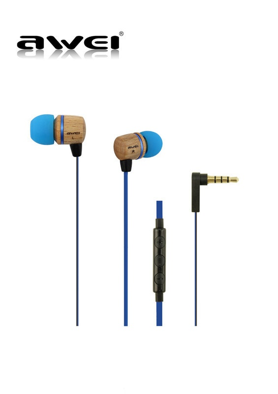 Awei ES16Hi Stereo Headset Earphones Wooden mic TV Audio earphone for IPhone Blue - Blue